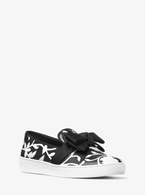 Val Floral-Print Leather Slip-On Sneaker  by Michael Kors