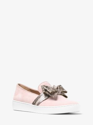 Val Suede and Snakeskin Slip-On Sneaker by Michael Kors