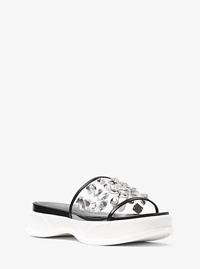 Betty Crystal-Embroidered Leather and Vinyl Slide by Michael Kors
