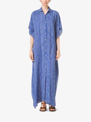 Mariner Stripe Silk-Georgette Caftan by Michael Kors
