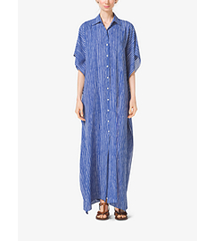Mariner Stripe Silk-Georgette Caftan by Michael Kors