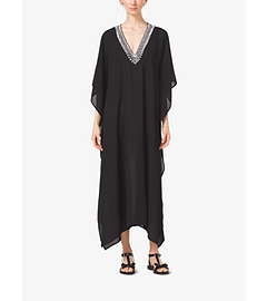 Embroidered Silk-Georgette V-Neck Caftan by Michael Kors