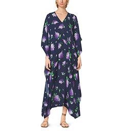 Lilac-Print Silk-Georgette Caftan