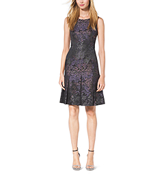 Inverted-Pleat Silk-Jacquard Dress by Michael Kors