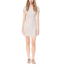 Eyelet-Embroidered Silk-Jacquard Dress by Michael Kors