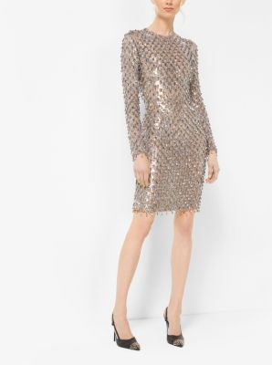 Metallic-Embroidered Stretch-Tulle Dress by Michael Kors