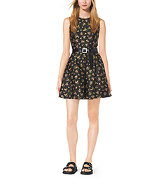 Crystal-Embellished Silk-Jacquard Dress by Michael Kors