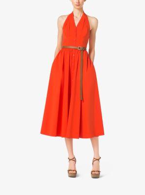 Cotton-Poplin Halter Dress by Michael Kors