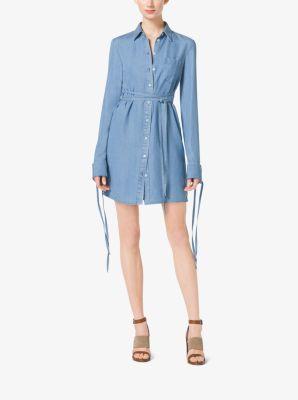 Tie-Waist Denim Shirtdress by Michael Kors