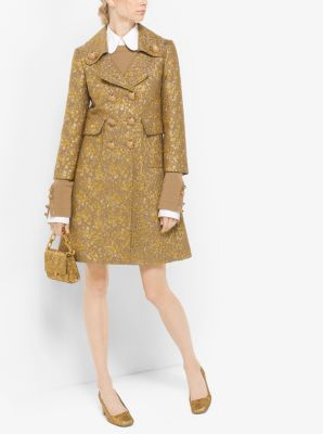 Floral Metallic-Embroidered Brocade Coat by Michael Kors