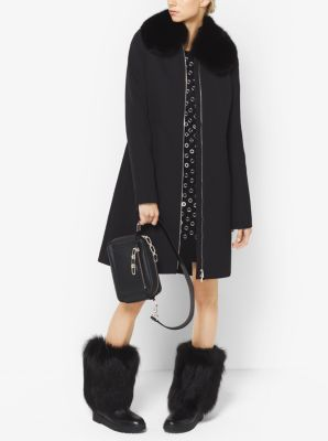 Fur-Trimmed Bonded Wool and Cotton Gabardine Ski Coat by Michael Kors