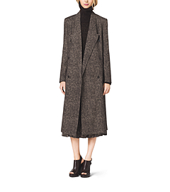 Smudged Glen Plaid Coated-Wool Coat