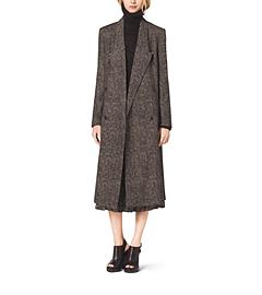 Smudged Glen Plaid Coated-Wool Coat