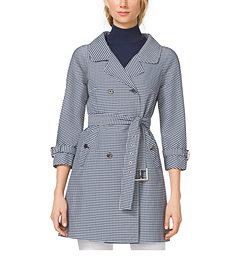 Gingham Techno-Twill Trenchcoat