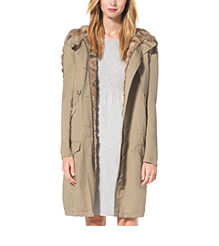 Sable-Lined Cotton and Linen Anorak Cape