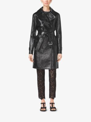 Bonded Crackle Patent-Leather Trench Coat by Michael Kors
