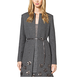 Embellished Shetland Wool A-Line Coat