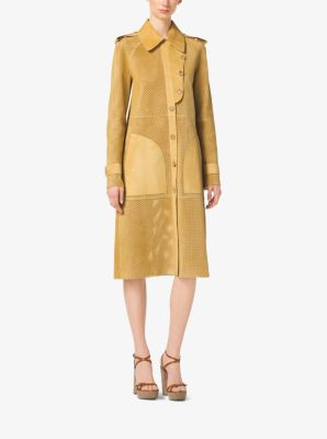 Perforated Bonded-Suede Trench Coat by Michael Kors
