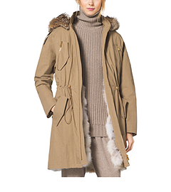 Crinkled Cotton Fur-Lined Parka