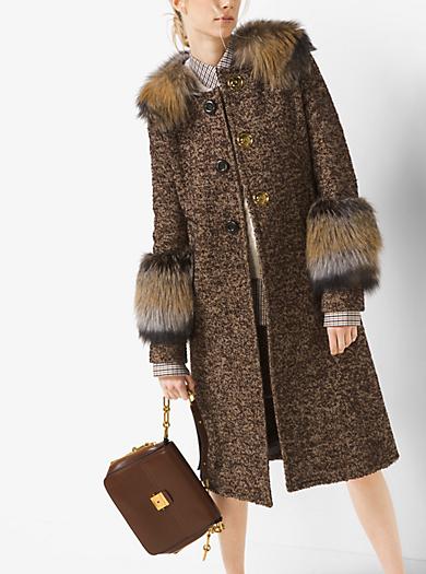 Fox-Trimmed Herringbone Tweed Coat by Michael Kors