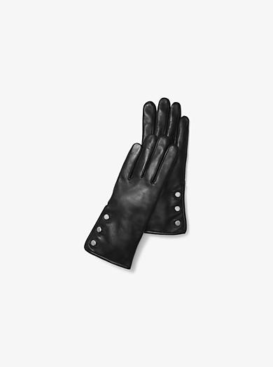 Handschuhe aus Leder mit drei Knöpfen by Michael Kors