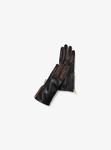Zip Leather Gloves by Michael Kors