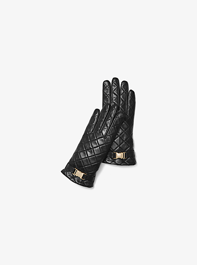 Quilted-Leather Gloves by Michael Kors