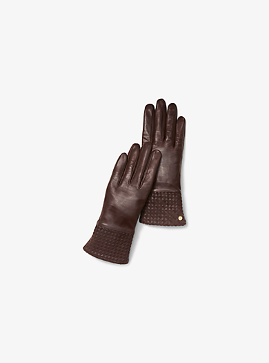 Textured-Cuff Leather Gloves by Michael Kors