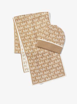 마이클 마이클 코어스 Michael Michael Kors Logo Knit Beanie and Scarf Set