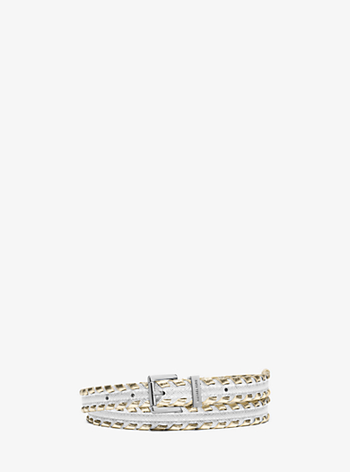 Whipstitch Saffiano Leather Belt by Michael Kors