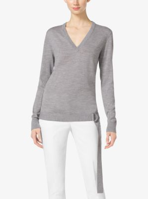 Belted Wool V-Neck Sweater by Michael Kors