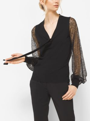 Merino Wool and Lace Blouse by Michael Kors