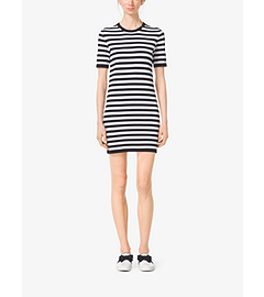 Striped Compact-Cotton T-Shirt Dress by Michael Kors