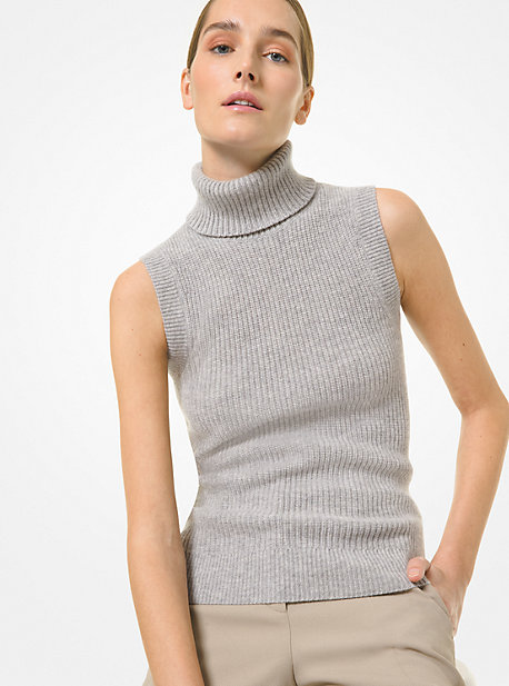 Michael Kors RIBBED CASHMERE SLEEVELESS SWEATER