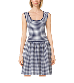 Gingham Stretch-Crepe Dress