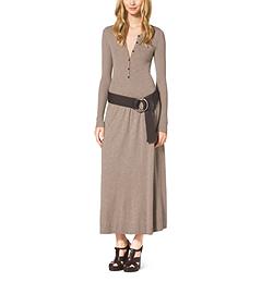 Matte Stretch-Jersey Henley Dress