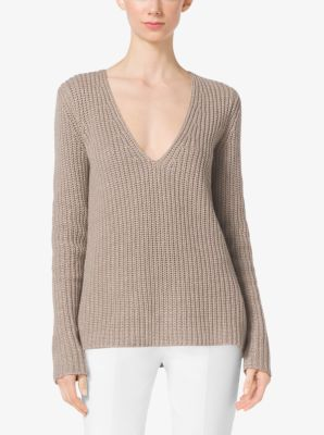 Shaker-Stitch Cashmere and Linen Sweater  by Michael Kors