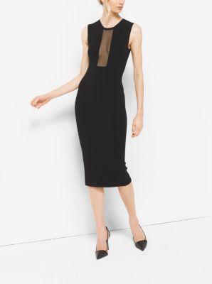 Sheer-Panel Stretch-Viscose Dress by Michael Kors