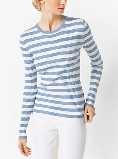 Striped Merino Wool Pullover by Michael Kors