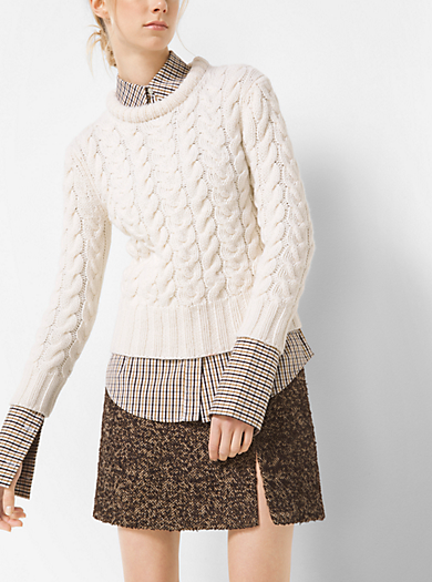 Hand-Knit Cable Cashmere Crewneck Sweater by Michael Kors