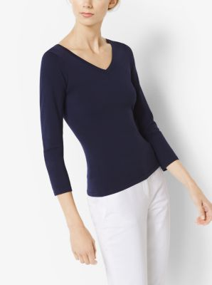 Stretch-Wool V-Neck Pullover by Michael Kors
