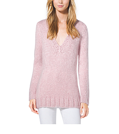Hand-Knit Mohair V-Neck Sweater
