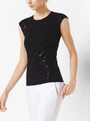 Sequined Cap-Sleeve Pullover by Michael Kors
