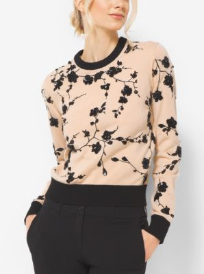 Floral-Embroidered Cashmere Sweater by Michael Kors