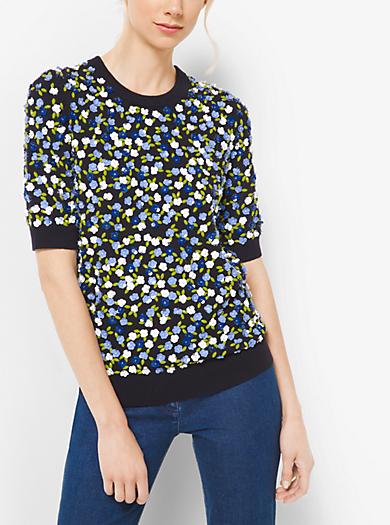 Pullover in cashmere impreziosito da un motivo floreale by Michael Kors