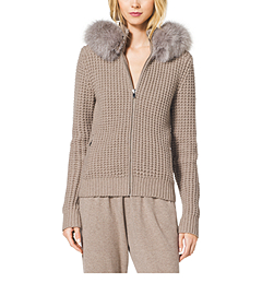 Cashmere Fur-Trim Hoodie