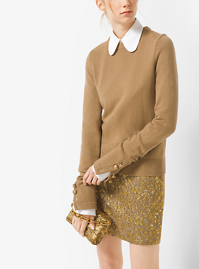 Button-Cuff Cashmere Sweater by Michael Kors
