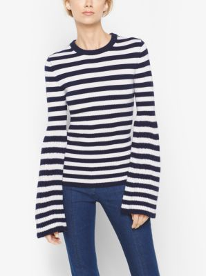 Striped Bell-Sleeve Cashmere Sweater by Michael Kors
