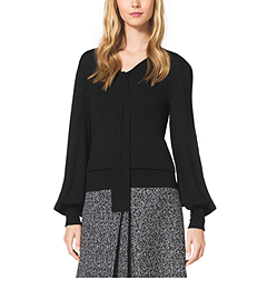 Merino Wool and Cashmere Tie-Neck Top