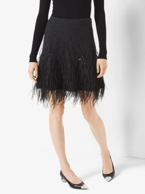 Feather-Embroidered Cashmere Skirt by Michael Kors